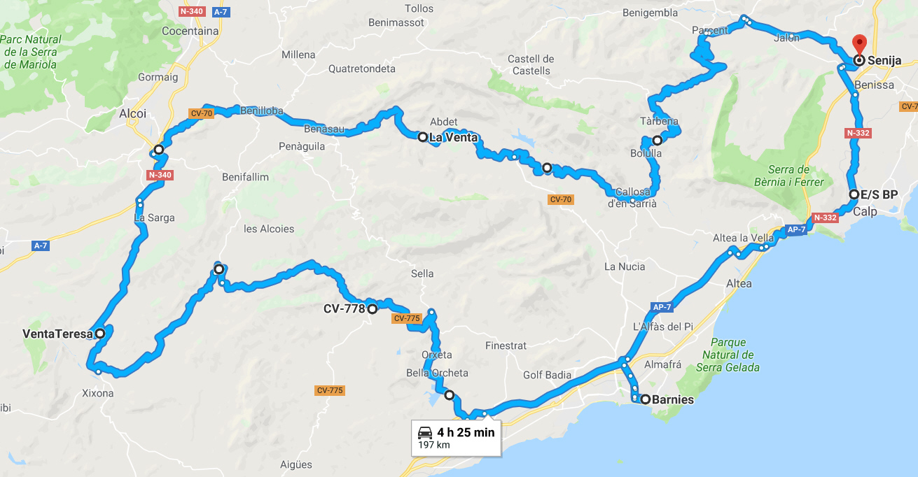 Costa Blanca Biking Route.