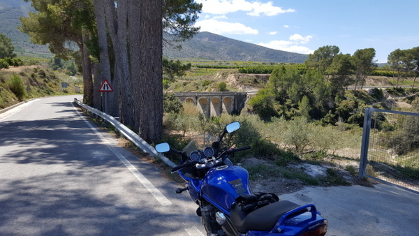Suzuki Bandit near a bridge at Otos, Costa Blanca spain