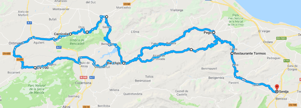 Motorcycling route around the Costa Blanca North