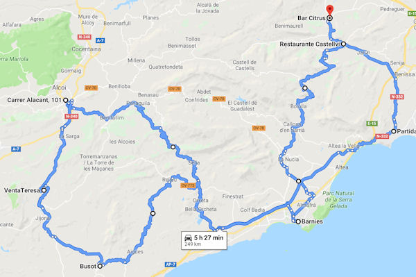 29th September 2019 Ride route